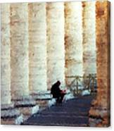 A Painting Alone Among The Vatican Columns Canvas Print