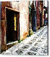 A Painting An Italian Street Canvas Print