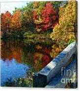 A Painting Autumn Lake And Bridge Canvas Print