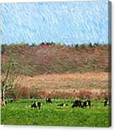 A Painting Cows Grazing And Newport Bridge Canvas Print