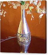 A Painting Silver Vase On Table Canvas Print
