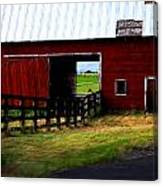 A Peaceful Day With A Barn Canvas Print