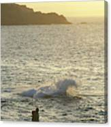 A Person Hiking On Rocky Shore Canvas Print