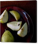 A Plate Of Pears Canvas Print