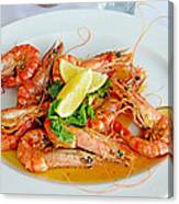 A Plate Of Shrimp Canvas Print