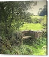A Quaint Stone Bench, This Seat Is Built Into A Bridge Canvas Print