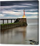 A Red And White Striped Lighthouse Canvas Print