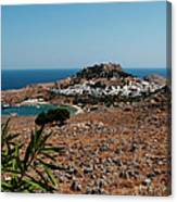 A Red Flower To Lindos Canvas Print