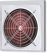A Red Industrial Ventilated Fan On Grey Wall Canvas Print