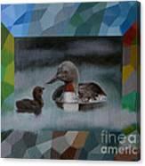 A Red-throated Diver And The Chick Canvas Print