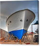 a resting boat in Jaffa port Canvas Print