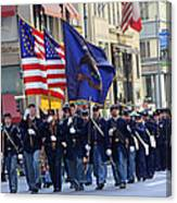 A Revolutionary Battalion Marching In The 2009 New York St. Patrick Day Parade Canvas Print