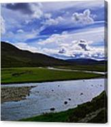 A River Splits The Landscape Canvas Print