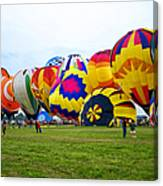 A Row Of Hot Air Balloons Left Side Canvas Print