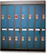 A Row Of Lockers In A School Hallway Canvas Print