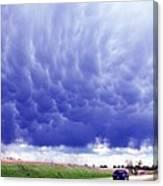 A Rural Nebraska Highway And Magnificent Sky Canvas Print