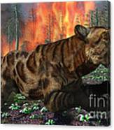 A Saber-toothed Tiger Running Away Canvas Print