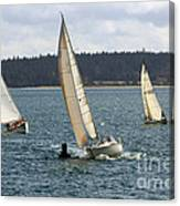 A Sailing Yacht Rounds A Buoy In A Close Sailing Race Canvas Print