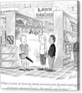 A Salesman Shows A Couple A Leaf Blower Canvas Print