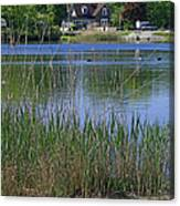 A Scenic View Of Round Pond  At The United States Military Academy Canvas Print