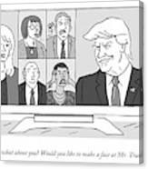 A Screen Split Between Trump And Five Pundits Canvas Print