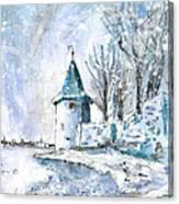 A Seagull In Winter In Lindau Canvas Print