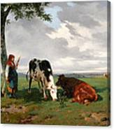 A Shepherdess With A Goat And Two Cows In A Meadow Canvas Print