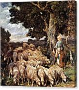 A Shepherdess With Her Flock Near A Stream Canvas Print