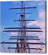 A Tall Ship At Sundown In Baltimore Canvas Print