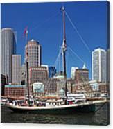 A Ship In Boston Harbor Canvas Print