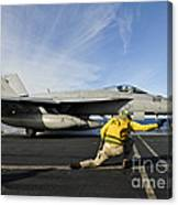 A Shooter Signals To Launch An Fa-18e Canvas Print