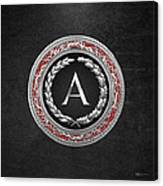 A - Silver Vintage Monogram On Black Leather Canvas Print