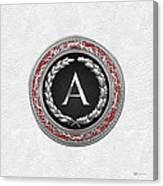 A - Silver Vintage Monogram On White Leather Canvas Print