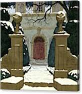 A Snow Covered Pathway Leading To A Mansion Canvas Print