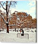 A Snow Day In Central Park Canvas Print