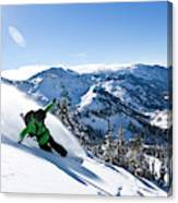 A Snowboarder Making Some Fresh Tracks Canvas Print