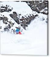A Snowboarder Riding Through Powder Canvas Print