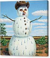 A Snowman In Texas Canvas Print
