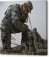 A Soldier Communicates Using A Canvas Print