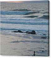 A Solitary Moment With Storm Waves At Mavericks Canvas Print