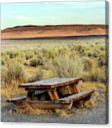 A Solitary Wooden Picnic Bench Canvas Print