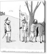 A Squire Looks At A Knight Whose Triangular Face Canvas Print