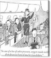 A Stewardess Is Holding Up An Oxygen Mask Canvas Print