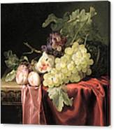 A Still Life With Grapes, Plums, Figs And A Melon On A Partly Draped Stone Ledge, 1653 Oil On Canvas Canvas Print