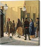 A Street Scene, Outside A Prison, 1868 Oil On Canvas Canvas Print