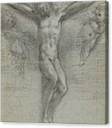 A Study Of Christ On The Cross With Two Canvas Print