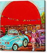 A Sunny Day At The Big Oj- Paintings Of Orange Julep-server On Roller Blades-carole Spandau Canvas Print