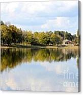 A Sunny Day's Reflections At The Lake House Canvas Print