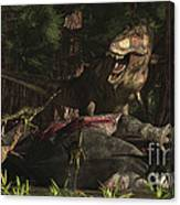 A T-rex Returns To His Kill And Finds Canvas Print