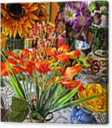 A Table Of Flowers Canvas Print